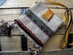 Petit sac ethnique Hippie/ Nature, noir et rouge : Sacs à main par mlb-creations