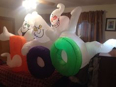 """Gemmy 8ft Halloween 3 Ghosts """"Boo"""" Airblown Inflatable Lawn Decoration   eBay"""