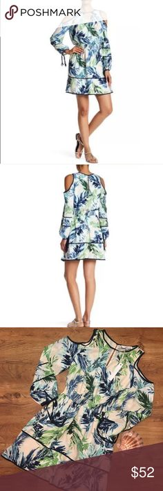 Adeline Rae palm tree print cold shoulder dress brand new, never worn, tags attached  pit to pit: 19 inches  shoulder to hem: 36 inches Adelyn Rae Dresses Long Sleeve
