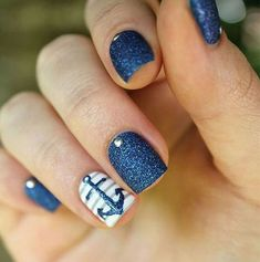 Pretty Nail Art Designs For Summer 2019 Spring Nail Art, Spring Nails, Summer Nails, Nail Art Designs, Nail Designs Spring, Sns Nails Colors, Blue Nails, Cruise Nails, Pretty Nail Art