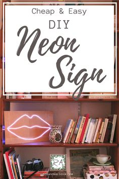 Cheap and easy DIY neon sign - coasts less than £5 and takes 30 minutes! One of my favourite craft projects ever! These light up neon signs are so much fun inside and give that eclectic modern look to your home decor. Check out the blog for how to make this super easy home hack!