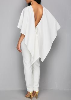 Open Back White Zipper Back Cloak Jumpsuit