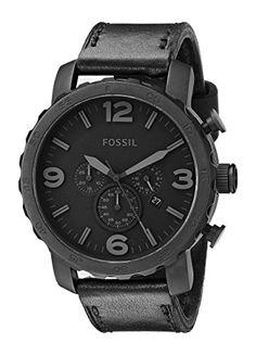 Fossil - JR1354 - Montre Homme - Quartz Analogique - Cadran Noir - Bracelet Cuir Noir