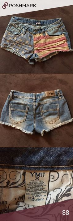 American Flag Jean Shorts The perfect shorts for those moments that you're feeling extra patriotic  YMI Shorts Jean Shorts