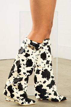 Cow Print Wedge Boot