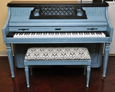 """Blue and Black Chic"" - A Piano Revival Project by My First Piano artist Kathryn. See what other fun things we're up to at myfirstpiano.net #paintedpiano"