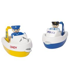 BIG Waterplay reddingboten. De set bestaat uit een politieboot en een reddingsboot van de kustwacht. Inclusief 2 speelfiguren. Vang jij boeven of red je zwemmers uit het water? Afmeting:15 x 8,5 cm - BIG Waterplay Reddingsboten