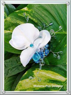 BRIDAL HAIR FLOWER  Hawaiian White Orchids Blue Hair by MalamaPua