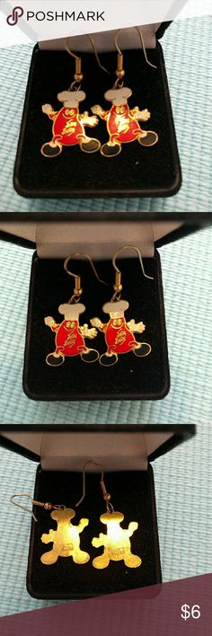 Jelly Belly Earrings These fun Jelly Belly earrings came from the factory itself.   Feature the Jelly Belly logo guy in all of his glory!  Are dangly red and gold earrings. Jewelry Earrings