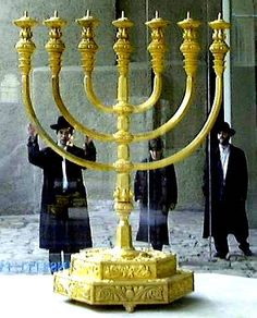 Golden Menorah is a replica from Herod's Temple made by the Temple Institute.  It  stands in Old City of Jerusalem at the Jewish Quarter.
