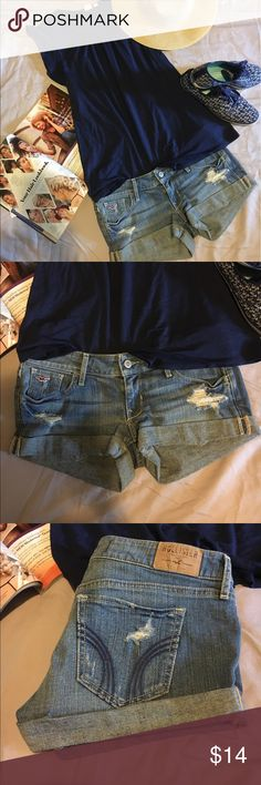 Hollister distress denim shorts. Light wash distressed denim shorts pre loved but in excellent condition. Size 1 juniors but it fists like the other size 5 juniors shorts I am selling. Hollister Shorts Jean Shorts