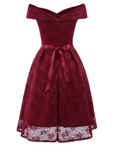 Amzchoice Womens Vintage Bridesmaid Floral Lace Dress Cocktail Formal Swing  Dress Burgundy L     9261f0128