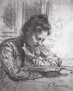 Reading (Portrait of Natalia B. Nordman) — Ilya Repin (1901)