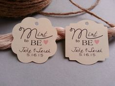 16 Personalised Mint To Be Wedding Favor Favour Tags Planner Pinterest Favors And