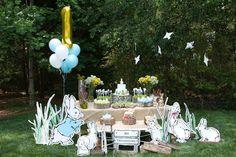 Peter Rabbit themed 1st birthday party via Kara's Party Ideas KarasPartyIdeas.com Printables, tutorials, cake, decor, cupcakes, recipes, favors, etc! #peterrabbit #peterrabbitparty #beatrixpotter (12)