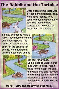 rabbit and tortoise story in english pdf साठी इमेज परिणाम Stories With Moral Lessons, English Moral Stories, Short Moral Stories, English Stories For Kids, English Worksheets For Kids, English Story, English Lessons For Kids, Kids English, English Reading