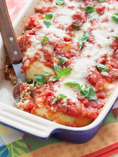 We love these warm, cheesy stuffed shells.