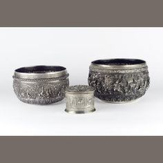 Two large Burmese silver Bowls and a small covered vessel (3) Sold for £1,200 inc. premium