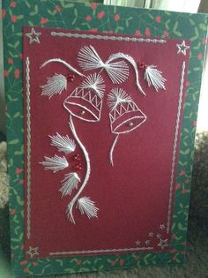 Latest Trend in Paper Embroidery - Craft & Patterns Embroidery Cards, Embroidery Patterns, Christmas Cards To Make, Xmas Cards, Stitching On Paper, Pin Card, String Art Patterns, Sewing Cards, Card Sentiments