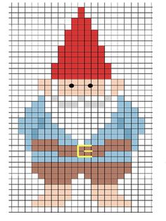 Gnome counted cross stitch pattern
