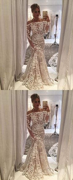 Mermaid off shoulder wedding dresses with appliqués , long sleeves wedding gowns.