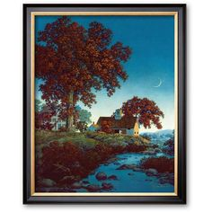Art.com New Moon Framed Art Print by Maxfield Parrish ($140) ❤ liked on Polyvore featuring home, home decor, wall art, multicolor, wooden wall art, tree wall art, timber tree, tree picture and colored trees