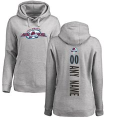 Colorado Avalanche Fanatics Branded Women's Personalized Backer Pullover Hoodie - Ash