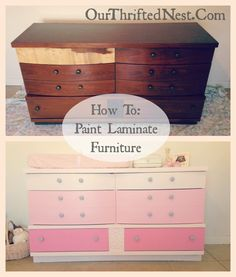 Our Thrifted Nest: DIY Pink Ombre Painted Changing Table