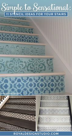 Simple to Sensational: 11 Stencil Ideas for Your Stairs - Painted Stair Risers using Moroccan, Floor, & Tile Stencils from Royal Design Studio