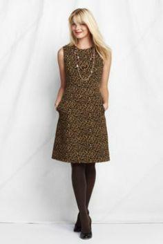 Women's Sleeveless Pattern Ponté Welt Pocket  Dress from Lands' End.  Add red belt and black sweater.