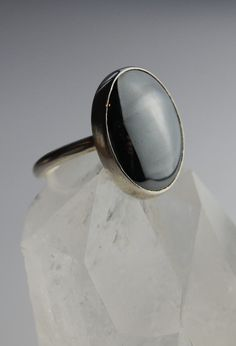 sterling silver stone ring,Hematite Cabachon stone set Ring, grey stone ring, silver ring. £27.00, via Etsy.