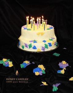 20 Beeswax Birthday Candles on our Cake! It's Honey Candles® 20th Birthday! We are so happy to celebrate 20 wonderful years of supplying you with pure beeswax candles. Made in Canada.