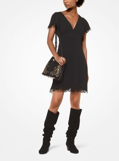 Style # DESIGN Transition from day to dark in this crepe dress. Cut with a V-neckline, this piece is detailed with scalloped trim and fringed detailing. Elevate it with an embellished bag and suede boots. Michael Kors, Crepe Dress, Suede Boots, Jet Set, Short Sleeve Dresses, Neckline, Menswear, Shirt Dress, Clothes