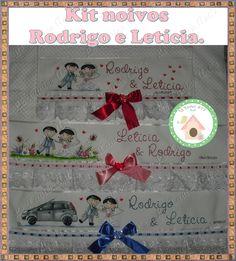 Kit Toalhas de banho e rosto para presentear os noivos. www.facebook.com/lexavierarts