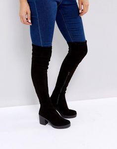 Miss Selfridge Over The Knee Platform Boot - Black