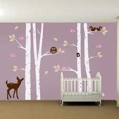 WANT $120 Kids Nursery Birch Tree Wall Decal Set - Owl Deer Fawn Birds Squirrels Bird House Leaves Removable Vinyl Wall Art Sticker. $120.00, via Etsy.