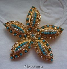 Sarah Coventry Ocean Starfish Gold Turquoise Pearls 1960's Vtg Brooch Pin #SarahCoventry