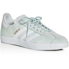 Adidas Women's Gazelle Lace Up Sneakers ($80) ❤ liked on Polyvore featuring shoes, sneakers, mint, synthetic shoes, adidas footwear, adidas shoes, laced shoes and laced sneakers