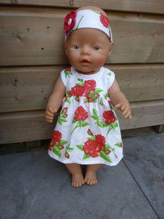 Zomerjurk en hoofdband Baby Born 43 cm. eigen ontwerp