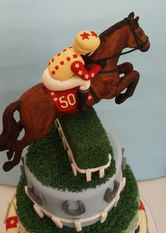 Horse Racing Birthday Cake This cake was a challenge and was enormous!Horse was done with gum paste and the newspaper betting slips. Birthday Cakes For Men, 50th Birthday, Horse Birthday Cakes, Horse Racing Party, Racing Cake, Horse Party, Renn Kuchen, Horse Cake Toppers, Pinterest Cake