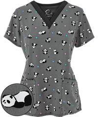 Maevn Scrubs Happy Pandas Top