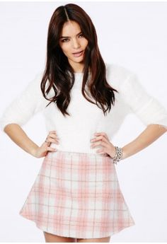 Missguided - Marlee Tartan A-Line Skirt In Baby Pink