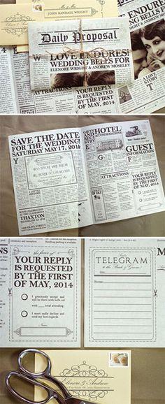 Creative vintage newspaper wedding invitations