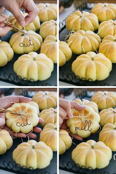 4 photos showing how to cut the twine off the Kabocha pumpkin bread Pumpkin Bread, Pumpkin Cookies, Pumpkin Rolls, Pumpkin Pumpkin, Healthy Pumpkin, Chip Cookies, Pumpkin Carving, Thanksgiving Recipes, Holiday Recipes