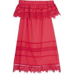 SEA Crochet-paneled cotton-voile mini dress ($485) ❤ liked on Polyvore featuring dresses, pink, mini dress, off the shoulder dress, pink off the shoulder dress, boho mini dress and red dress