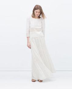 EMBROIDERED LONG SKIRT-Pretty White-WOMAN   ZARA United States