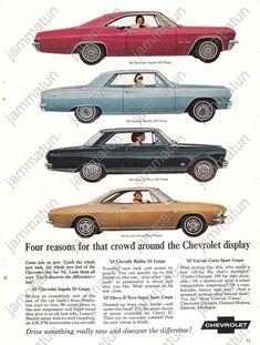 1965 Chevrolet Impala, Malibu, Nova, & Corvair Corsa Advertisements.  My first car was a '65 Impala.  Yellow coupe w/black vinyl top and black interior powered by a 327 V-8 with a 4 barrell carb.