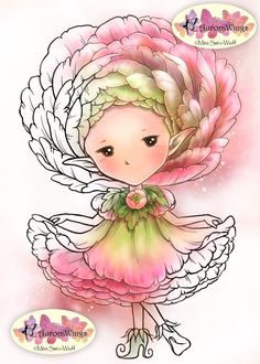 Digital Stamp - Whimsical Ranunculus Sprite - Instant Download - Buttercup Fairy - Fantasy Line Art for Cards & Crafts by Mitzi Sato-Wiuff