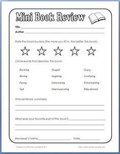 Classroom Freebies: Mini Book Review                                                                                                                                                                                 More
