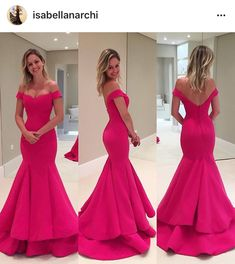 Vestido festa rosa modelo sereia ombro a ombro perfeito Isabella Narchi